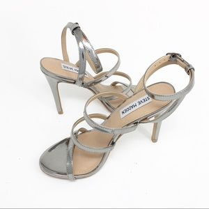 STEVE MADDEN Strappy Silver Stiletto High Heels